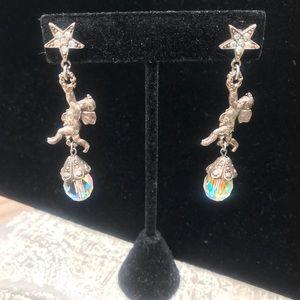 Kirks Folly vintage earrings crystal cherubs